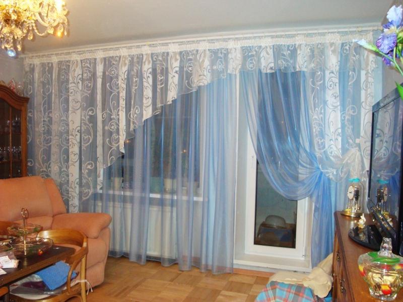 Дизайн окна в гостиной тюль